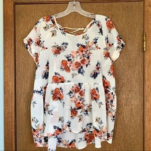 Crepe fall floral top